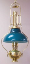 "Deluxe Aladdin Oil Lamp - Brass Frame with 12"" blue-green Opal Bell Shade  *** with NEW CASED GREEN SHADE****"