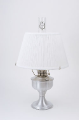 "Brushed Aluminum Aladdin Table Oil Lamp w/ 14"" White Pleated Shade"