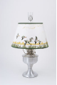 "Brushed Aluminum Aladdin Table Oil Lamp w/ 14"" Duck  Parchment Shade"