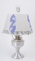 "Brushed Aluminum Aladdin Table Oil / Kerosene Lamp with 14"" Perry's Fern   Parchment Shade"