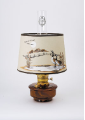 "Genie III  Glass Aladdin Oil / kerosene Lamp - Shelf Lamp style  - Brown Translucent <P>WITH 12"" Parchment Canada Goose Shade - Solid Brass Parts"