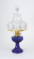 Cobalt Lincoln Drape Aladdin Oil Lamp - Brass Hardware -  with Blue Rose Shade (USA)