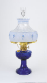 Cobalt Lincoln Drape Aladdin Oil / kerosene Lamp  - Brass - with Blue Meadow Shade (USA).