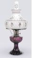 "Amethyst (purple) Lincoln Drape Aladdin Oil / kerosene Lamp - (Nickel ) With  10"" Amethyst (Purple flowers)  Crystal Shade (USA) ***"