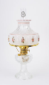 "Clear Crystal Aladdin Lincoln Drape Oil Lamp w/ 10"" Pink Rose Shade (Brass Hardware ) (USA)"