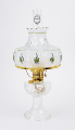 "Clear Crystal Aladdin Lincoln Drape Oil Lamp w/ 10"" Green Rose Shade (Brass Hardware ) (USA) ***"
