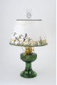 "Emerald (green) Aladdin Lincoln Drape Oil Lamp w/ 14"" Ducks Parchment Shade (Brass Hardware ) (USA)"