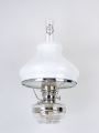 "Clear Glass Aladdin Classic Wall Bracket Oil  Lamp (NICKEL) w/ 10"" Model ""B"" Opal Glass Shade"