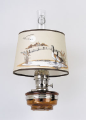 "Honey Amber Brown Translucent Glass Aladdin Classic Wall Bracket Oil Lamp (NICKEL) w/ 12"" Canada Goose Shade"