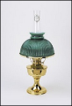 "Aladdin ""OIL / Kerosene""  Brass Heritage Table Lamp with Glass  green rib shade"