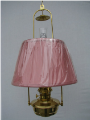 "Brass Classic Tilt Frame Hanging  Aladdin Oil Lamp w/14"" Pink Pleated Cloth Shade - Brass"