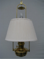 "Brass Classic Tilt Frame Hanging  Aladdin Mantle Oil / kerosene Lamp with 14"" White Pleated Cloth Shade - Brass"