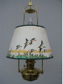 "Brass Classic Tilt Frame Hanging  Aladdin Oil Lamp w/14"" Flying Ducks Parchment Shade - Brass ***"