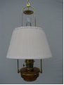 "Brown Translucent Classic Tilt Frame Aladdin Oil Lamp w/14"" White pleated parchment Shade"