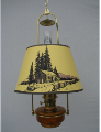 "Brown HONEY AMBER Translucent Classic Tilt Frame Aladdin Oil Lamp w/14"" Log Cabin parchment Shade"