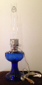 C6177n Cobalt (Blue) Lincoln Drape Aladdin ELECTRIC Lamp - NICKEL hardware (USA) ***