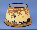 "Parchment Aladdin Oil Lamp Shade 14"" Decorated "" Coach and Four Horse (Autumn Scene)"