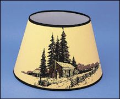 "Parchment Aladdin Oil Lamp Shade 14"" Decorated ""Log Cabin"" ***"