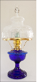 "( BACK ORDERED ) ALEXANDRIA Aladdin Oil Lamp ** COBALT BLUE Glass ** with 10"" SHADE -  Brass hardware **"