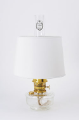 "Genie III Aladdin Mantle Shelf Oil / Kerosene Lamp -- CLEAR glass --  with White 12"" parchment shade  -- BRASS hardware (SKU: C6107-100)"