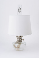 "*Genie III Aladdin Shelf Oil Lamp (CLEAR) glass --  with s100 white 12"" parchment shade  (Nickel) (SKU: C6107N-100 **)"