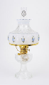 "Clear Crystal Aladdin Lincoln Drape Oil Lamp w/ 10"" Blue Rose Shade (Brass Hardware )  (USA) (SKU: C6192-750)"