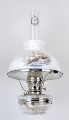 "Clear Glass Aladdin Classic Wall Bracket Oil  Lamp (NICKEL) w/ 10"" Sailing Glass Shade (SKU: NW178-543)"