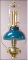 "Deluxe Aladdin Oil Lamp - Brass Frame with 12"" blue-green Opal Bell Shade  *** with CASED GREEN SHADE**** (SKU: BH210g)"