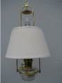 "Clear Classic Tilt Frame Aladdin Oil Lamp w/14"" white pleated cloth Shade (SKU: BH715-110W ** Shade Limited Supply **)"