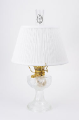 "Clear Crystal Aladdin Lincoln Drape Oil Lamp w/ 14"" White Pleated Shade (Brass Hardware ) (USA)"
