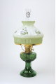 "Emerald (green)  Aladdin Lincoln Drape Oil Lamp w/ 10"" Satin Finish  #12 Violets Glass Shade (Brass Hardware ) (USA)"