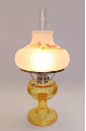 "Grand Vertique ""Honey Amber""  Table Lamp NICKEL"" SET with hand painted shade in Fall Oak leaves or Fall Mums""  (Limited Edition)"