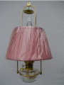 "Clear Classic Tilt Frame Aladdin Oil Lamp w/14"" Pink pleated cloth Shade"