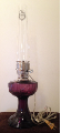 C6183n Amethyst (purple) Lincoln Drape Aladdin ELECTRIC Lamp - NICKEL hardware (USA) ***