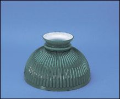 "Classic Aladdin Oil Lamp  Glass Shade 10"" Cased Rib Green"
