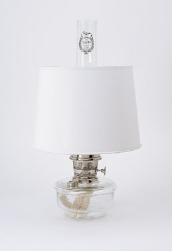 "*Genie III Aladdin Shelf Oil Lamp (CLEAR) glass --  with s100 white 12"" parchment shade  (Nickel)"