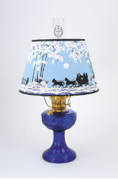 "Cobalt Lincoln Drape Aladdin Mantle Oil / kerosene Lamp  - Brass Hardware  with 14"" Parchment Winter Scene Shade (USA)"
