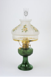 "Emerald  (green) Aladdin Lincoln Drape Oil Lamp w/ 10"" Satin Finish Clear Skirt Buttercups Glass Shade** (Brass Hardware ) (USA"