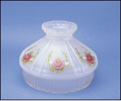 "Classic Aladdin Oil Lamp Glass Shade 10"" Satin Finish Clear Skirt ""Rose""  **"