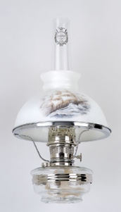 "Clear Glass Aladdin Classic Wall Bracket Oil  Lamp (NICKEL) w/ 10"" Sailing Glass Shade"
