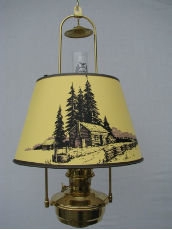 "Brass Classic Tilt Frame Hanging  Aladdin Mantle Oil / kerosene  Lamp with 14"" Log Cabin Parchment Shade - Brass"