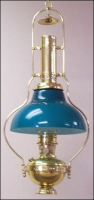 "Deluxe Aladdin Oil Lamp - Brass Frame with 12"" blue-green Opal Bell Shade  *** with CASED GREEN SHADE****"
