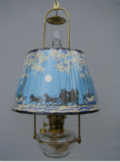 "Clear Classic Tilt Frame Aladdin Oil Lamp w/14"" Coach & Horse Parchment Shade (Winter Scene)"