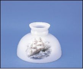 "Classic Aladdin Oil Lamp Glass Shade 10""Opal Student Sailing Clipper"