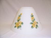 "Classic Aladdin Oil Lamp  Glass Shade 14""  Hanging ""Slant"" Opal with Buttercups ** TWO LEFT then RETIRED  ** **Hand Painted**"