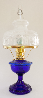 "ALEXANDRIA Aladdin Oil Lamp ** COBALT BLUE Glass ** with 10"" SHADE -  Brass hardware **"