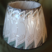 "Parchment ""FEATHER "" oil lamp shade Genuine Aladdin 14"""