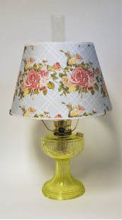 "Vaseline Lincoln Drape Table Lamp w/ 14"" Lattice Rose Parchment Shade"