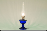 ALEXANDRIA Aladdin Oil  Lamp ** COBALT BLUE Glass **  NICKEL hardware (Lamp Only - no shade)  **