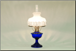 Alexandria Glass Nickel Table Lamp, Cobalt BLUE with 501-9R Shade